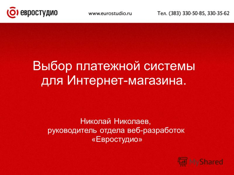 Выбор платежной системы для Интернет-магазина. Николай Николаев, руководитель отдела веб-разработок «Евростудио»