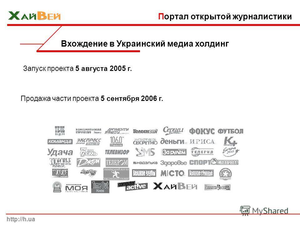 Вхождение в Украинский медиа холдинг Продажа части проекта 5 сентября 2006 г. http://h.ua Портал открытой журналистики Запуск проекта 5 августа 2005 г.