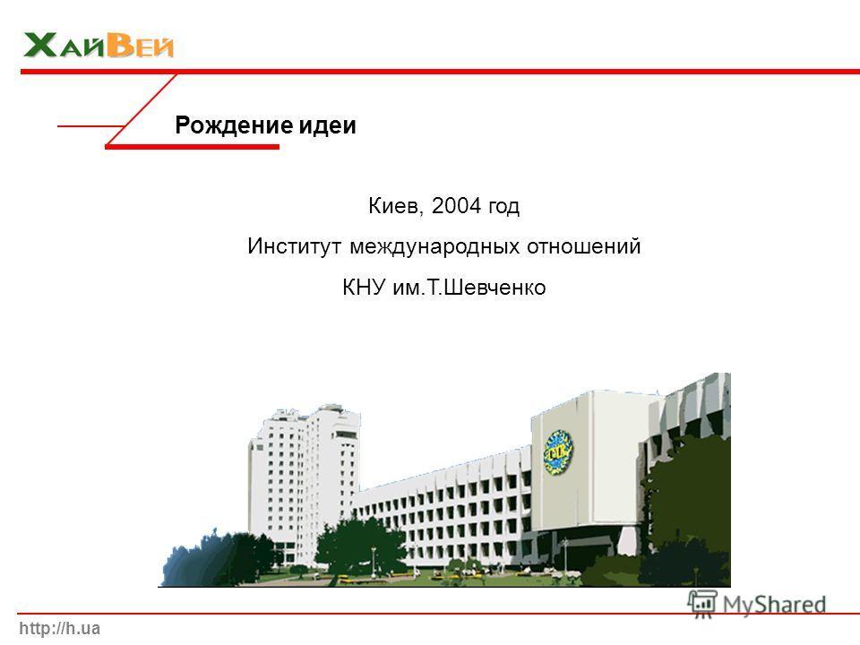 Рождение идеи http://h.ua Киев, 2004 год Институт международных отношений КНУ им.Т.Шевченко