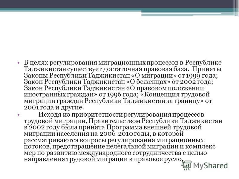 В целях регулирования миграционных процессов в Республике Таджикистан существует достаточная правовая база. Приняты Законы Республики Таджикистан «О миграции» от 1999 года; Закон Республики Таджикистан «О беженцах» от 2002 года; Закон Республики Тадж