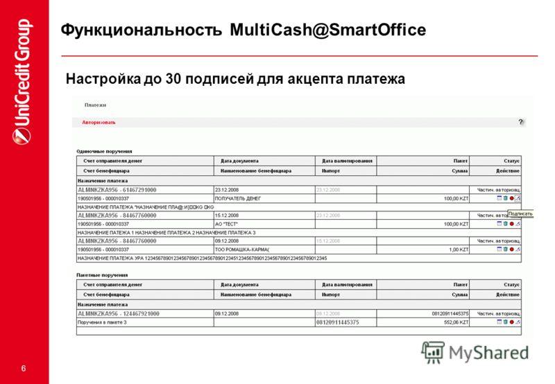 6 Настройка до 30 подписей для акцепта платежа Функциональность MultiCash@SmartOffice