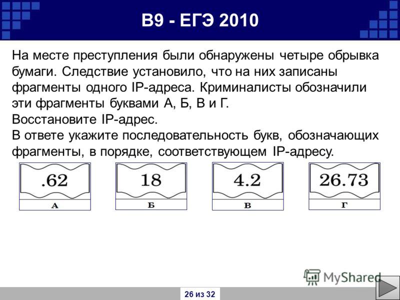 В9 - ЕГЭ 2010 На месте преступления были обнаружены четыре обрывка бумаги. Следствие установило, что на них записаны фрагменты одного IP-адреса. Криминалисты обозначили эти фрагменты буквами А, Б, В и Г. Восстановите IP-адрес. В ответе укажите послед