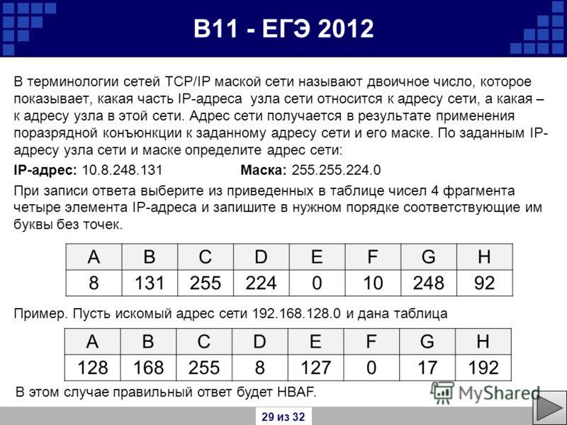 В11 - ЕГЭ 2012 В терминологии сетей TCP/IP маской сети называют двоичное число, которое показывает, какая часть IP-адреса узла сети относится к адресу сети, а какая – к адресу узла в этой сети. Адрес сети получается в результате применения поразрядно