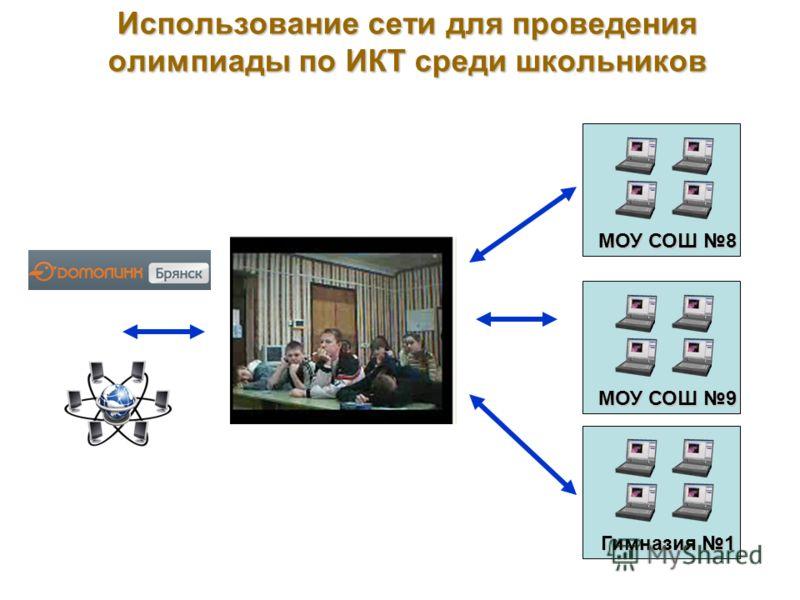 Использование сети для проведения олимпиады по ИКТ среди школьников Гимназия 1 МОУ СОШ 8 МОУ СОШ 9