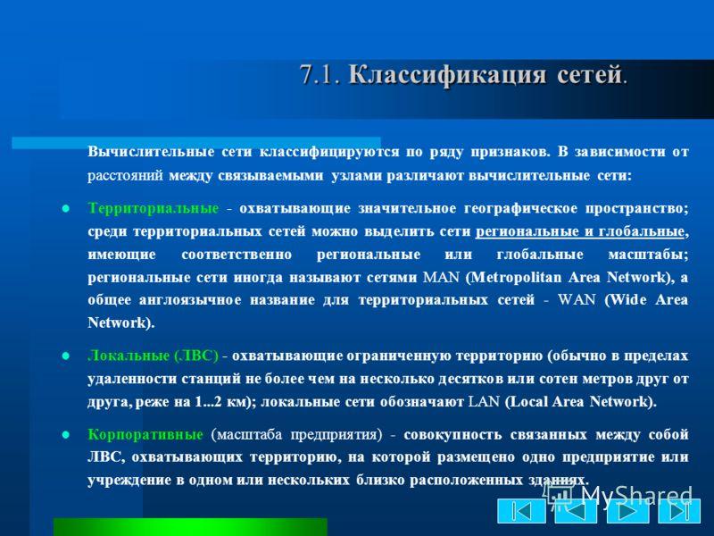 7.1. Классификация сетей. 7.1. Классификация сетей. Вычислительные сети классифицируются по ряду признаков. В зависимости от расстояний между связываемыми узлами различают вычислительные сети: Территориальные - охватывающие значительное географическо
