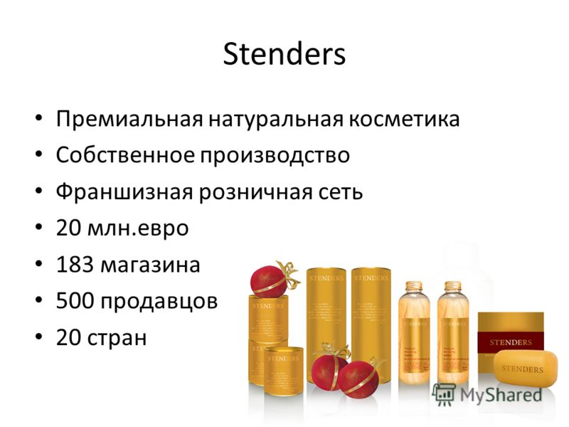 Stenders Премиальная натуральная косметика Собственное производство Франшизная розничная сеть 20 млн.евро 183 магазина 500 продавцов 20 стран