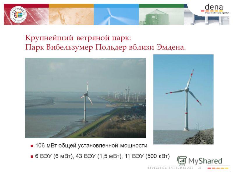 30 E F F I Z I E N Z E N T S C H E I D E T Крупнейший ветряной парк: Парк Вибельзумер Польдер вблизи Эмдена. 106 мВт общей установленной мощности 6 ВЭУ (6 мВт), 43 ВЭУ (1,5 мВт), 11 ВЭУ (500 кВт)