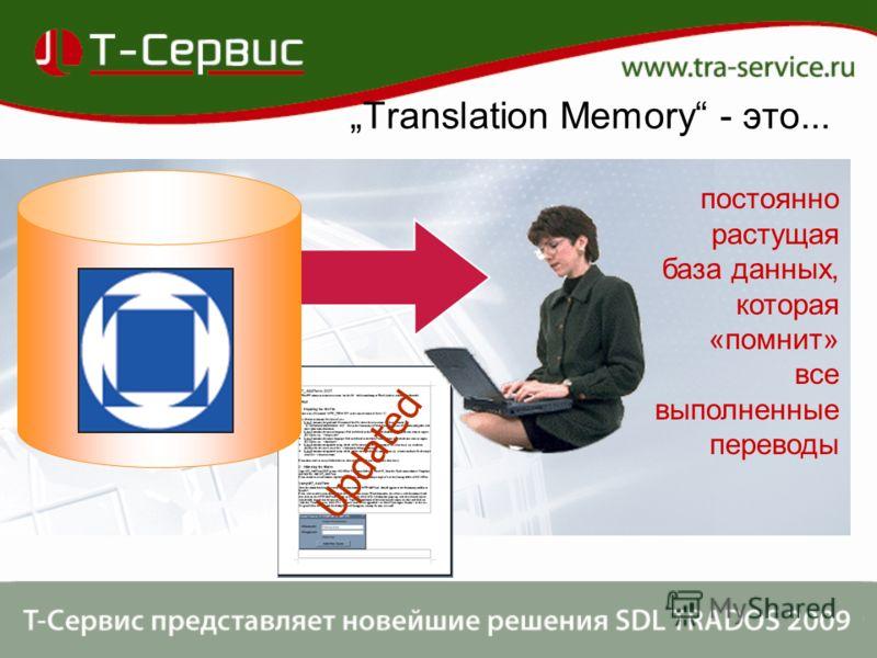 Translation Memory - это... Updated постоянно растущая база данных, которая «помнит» все выполненные переводы
