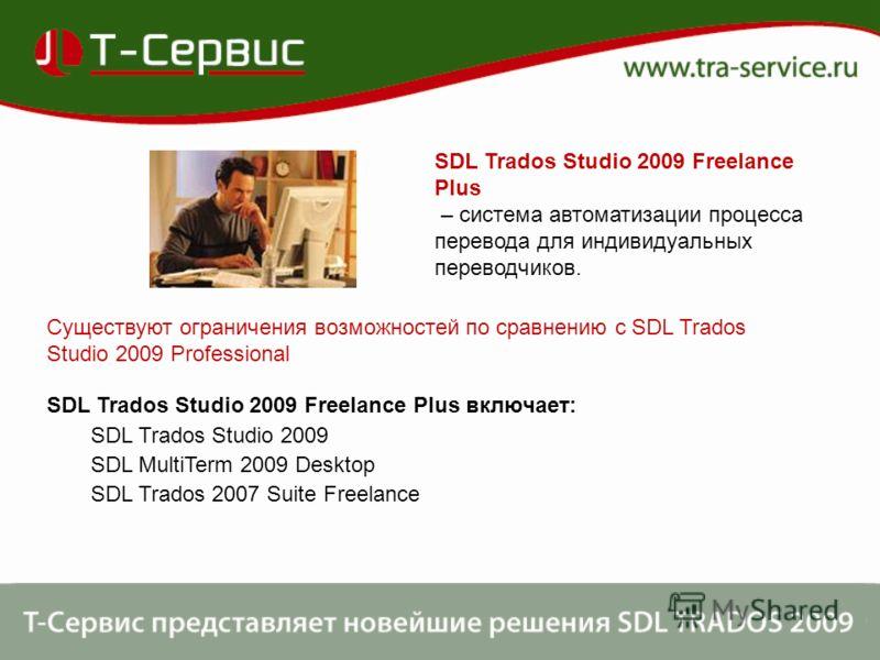 SDL Trados Studio 2009 Freelance Plus – система автоматизации процесса перевода для индивидуальных переводчиков. Существуют ограничения возможностей по сравнению с SDL Trados Studio 2009 Professional SDL Trados Studio 2009 Freelance Plus включает: SD