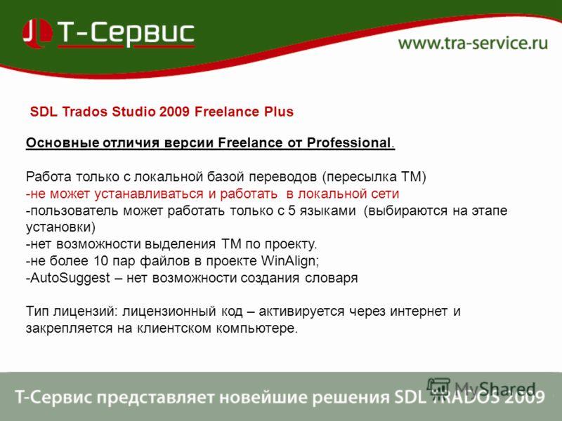 SDL Trados Studio 2009 Freelance Plus Основные отличия версии Freelance от Professional. Работа только с локальной базой переводов (пересылка ТМ) -не может устанавливаться и работать в локальной сети -пользователь может работать только с 5 языками (в