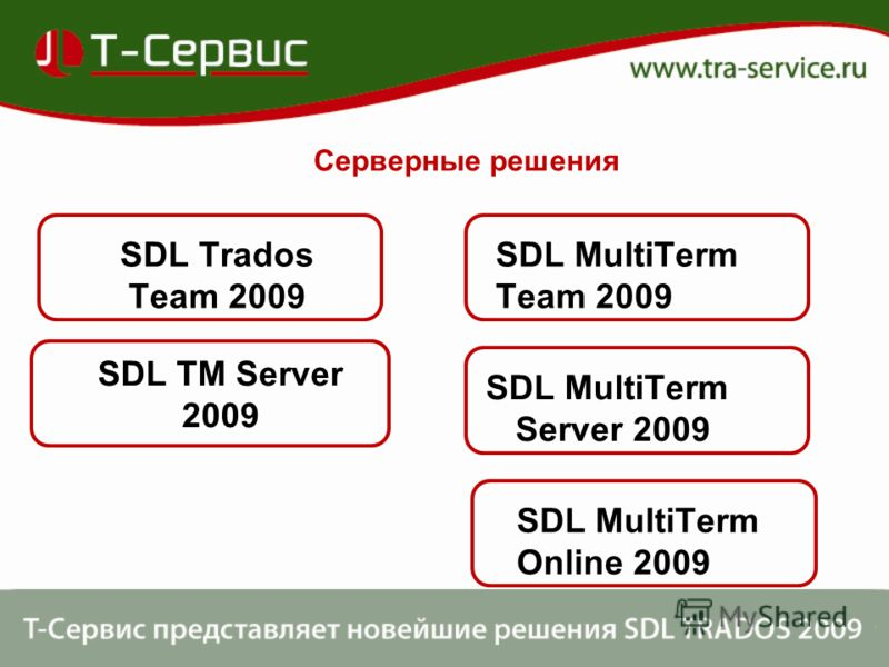 SDL Trados Team 2009 SDL TM Server 2009 SDL MultiTerm Team 2009 SDL MultiTerm Server 2009 Серверные решения SDL MultiTerm Online 2009