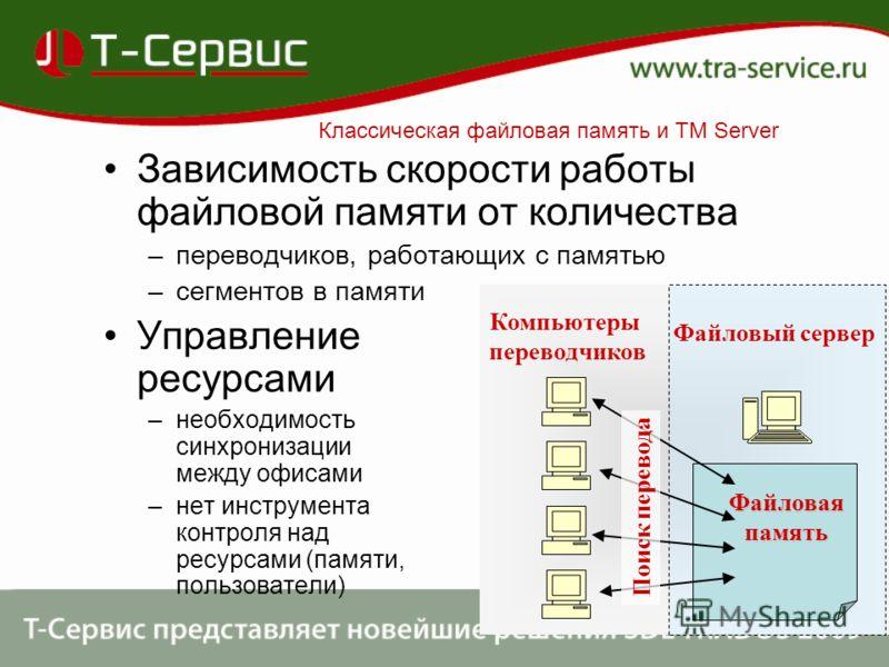 Зависимость скорости работы файловой памяти от количества –переводчиков, работающих с памятью –сегментов в памяти Управление ресурсами –необходимость синхронизации между офисами –нет инструмента контроля над ресурсами (памяти, пользователи) Файловая
