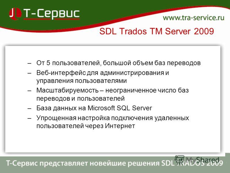 –От 5 пользователей, большой объем баз переводов –Веб-интерфейс для администрирования и управления пользователями –Масштабируемость – неограниченное число баз переводов и пользователей –База данных на Microsoft SQL Server –Упрощенная настройка подклю