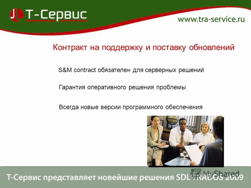Контракт на поддержку и поставку обновлений S&M соntract обязателен для серверных решений Гарантия оперативного решения проблемы Всегда новые версии программного обеспечения
