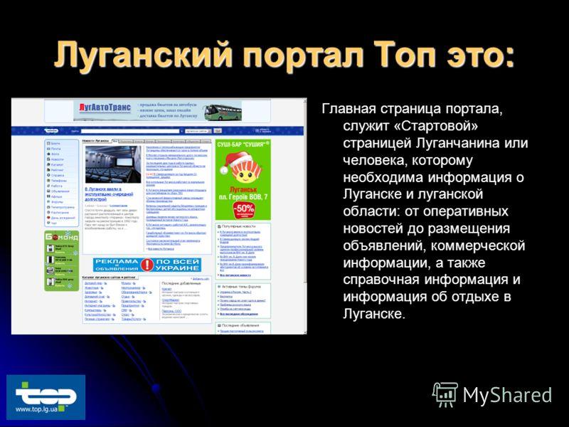 Луганский портал Топ это: Главная страница портала, служит «Стартовой» страницей Луганчанина или человека, которому необходима информация о Луганске и луганской области: от оперативных новостей до размещения объявлений, коммерческой информации, а так