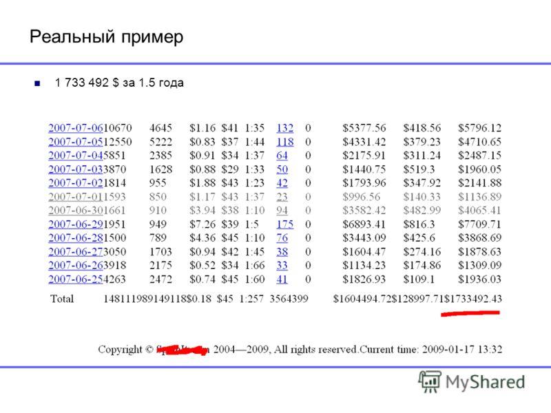 Реальный пример 1 733 492 $ за 1.5 года