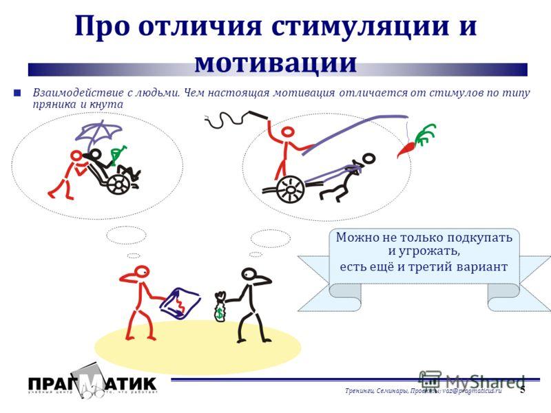 Тренинги, Семинары, Проекты; vaz@pragmaticus.ru 5 Про отличия стимуляции и мотивации Взаимодействие с людьми. Чем настоящая мотивация отличается от стимулов по типу пряника и кнута Можно не только подкупать и угрожать, есть ещё и третий вариант