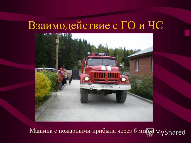 Взаимодействие с ГО и ЧС Машина с пожарными прибыла через 6 минут