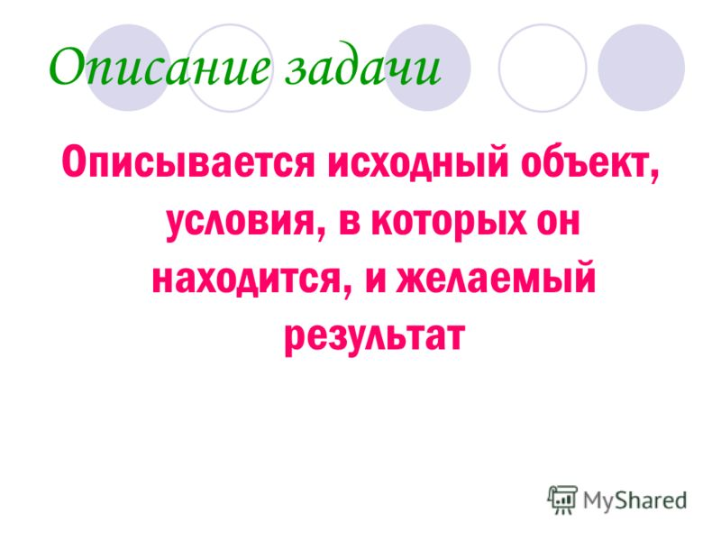Описание задачи Описывается исходный объект, условия, в которых он находится, и желаемый результат
