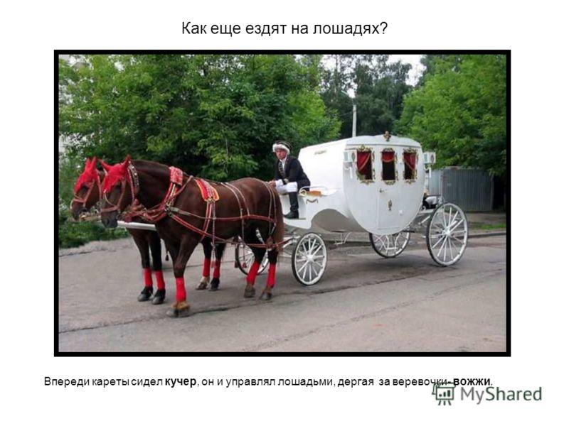 Как еще ездят на лошадях? Впереди кареты сидел кучер, он и управлял лошадьми, дергая за веревочки- вожжи.