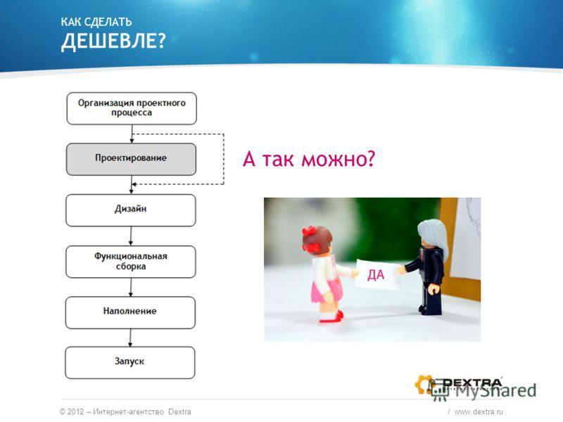 КАК СДЕЛАТЬ ДЕШЕВЛЕ? © 2012 – Интернет-агентство Dextra / www.dextra.ru А так можно?