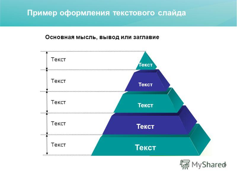 26 Пример оформления текстового слайда Текст Основная мысль, вывод или заглавие
