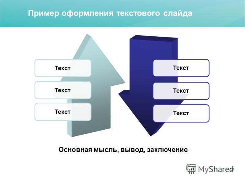 27 Основная мысль, вывод, заключение Текст Пример оформления текстового слайда
