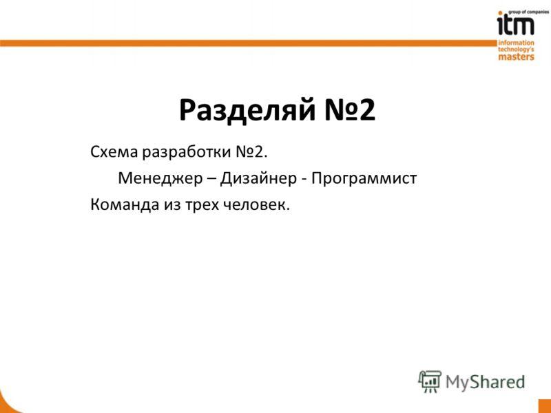 Разделяй 2 Схема разработки 2. Менеджер – Дизайнер - Программист Команда из трех человек.