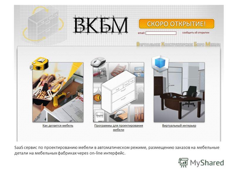 SaaS сервис по проектированию мебели в автоматическом режиме, размещению заказов на мебельные детали на мебельных фабриках через on-line интерфейс.