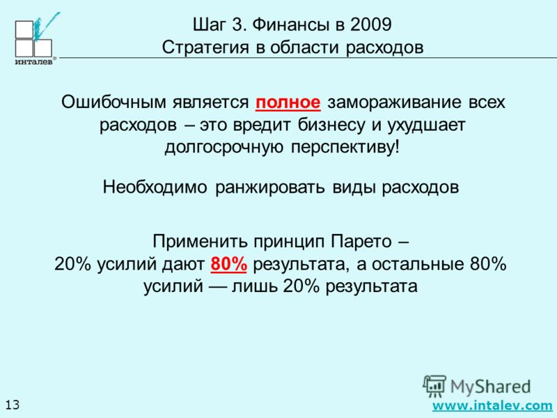 www.intalev.com 13 Шаг 3. Финансы в 2009 Стратегия в области расходов Ошибочным является полное замораживание всех расходов – это вредит бизнесу и ухудшает долгосрочную перспективу! Необходимо ранжировать виды расходов Применить принцип Парето – 20%
