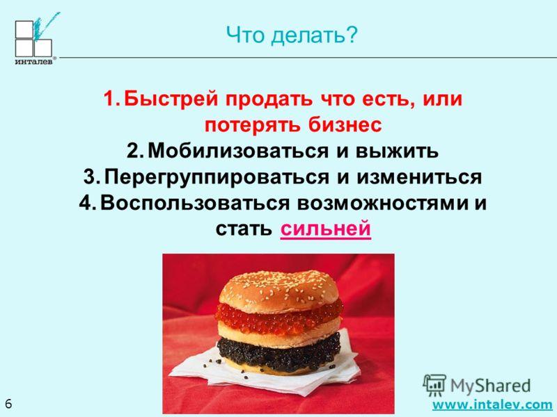 www.intalev.com 6 Что делать? 1.Быстрей продать что есть, или потерять бизнес 2.Мобилизоваться и выжить 3.Перегруппироваться и измениться 4.Воспользоваться возможностями и стать сильней