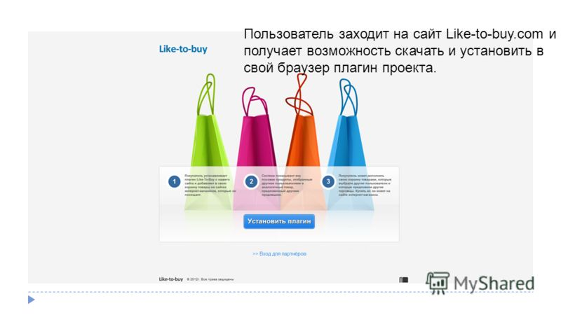 Пользователь заходит на сайт Like-to-buy.com и получает возможность скачать и установить в свой браузер плагин проекта.