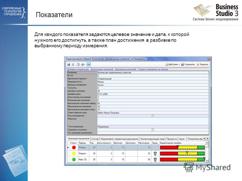 Показатели Для каждого показателя задаются целевое значение и дата, к которой нужного его достигнуть, а также план достижения в разбивке по выбранному периоду измерения.