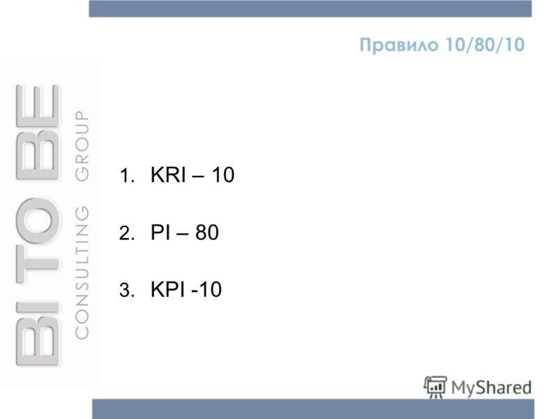 Правило 10/80/10 1. KRI – 10 2. PI – 80 3. KPI -10