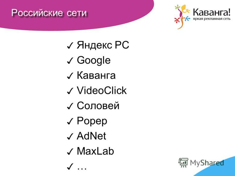 Российские сети Яндекс РС Google Каванга VideoClick Соловей Рорер AdNet MaxLab …
