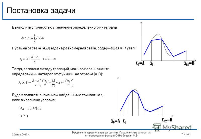 Вычислить с точностью значение определенного интеграла Пусть на отрезке [A,B] задана равномерная сетка, содержащая n+1 узел: Тогда, согласно методу трапеций, можно численно найти определенный интеграл от функции на отрезке [A,B]: Будем полагать значе