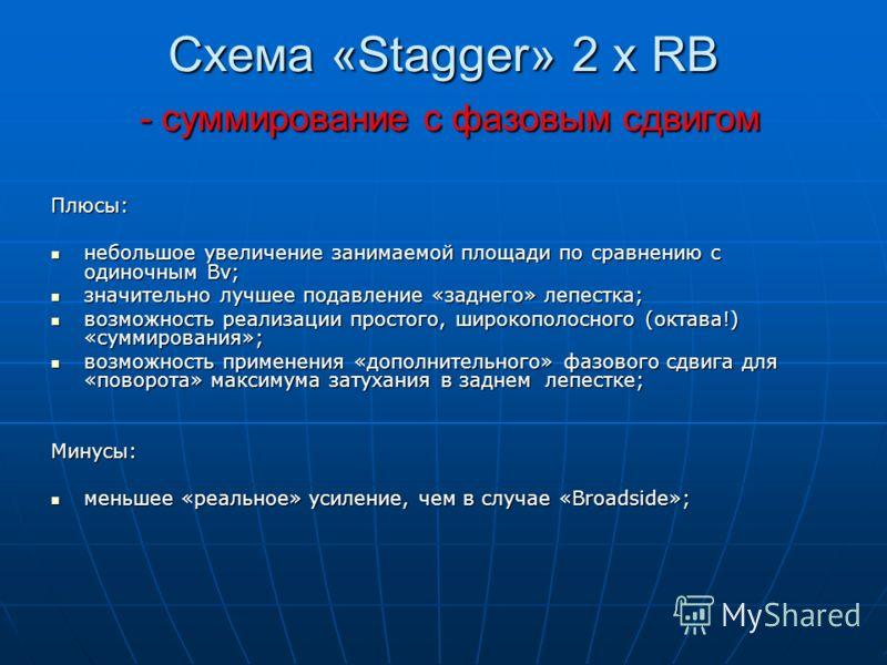 Схема «Stagger» 2 x RB - суммирование с фазовым сдвигом Плюсы: небольшое увеличение занимаемой площади по сравнению с одиночным Bv; небольшое увеличение занимаемой площади по сравнению с одиночным Bv; значительно лучшее подавление «заднего» лепестка;