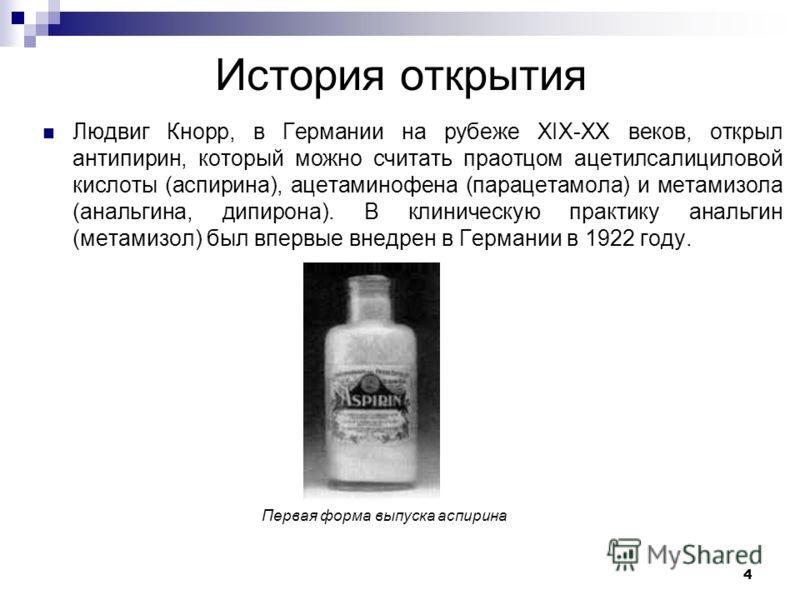 История открытия Людвиг Кнорр, в Германии на рубеже ХIХ-ХХ веков, открыл антипирин, который можно считать праотцом ацетилсалициловой кислоты (аспирина), ацетаминофена (парацетамола) и метамизола (анальгина, дипирона). В клиническую практику анальгин
