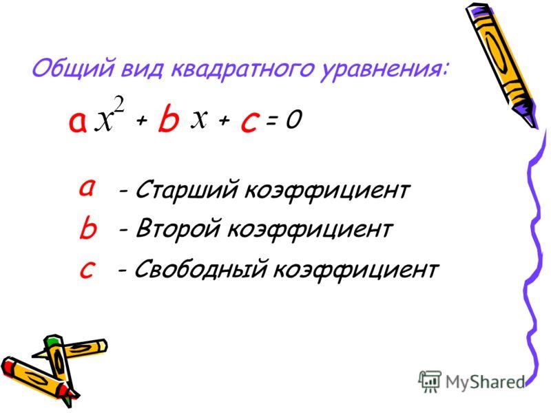Общий вид квадратного уравнения: + b + с = 0 а - Старший коэффициент b - Второй коэффициент c - Свободный коэффициент а