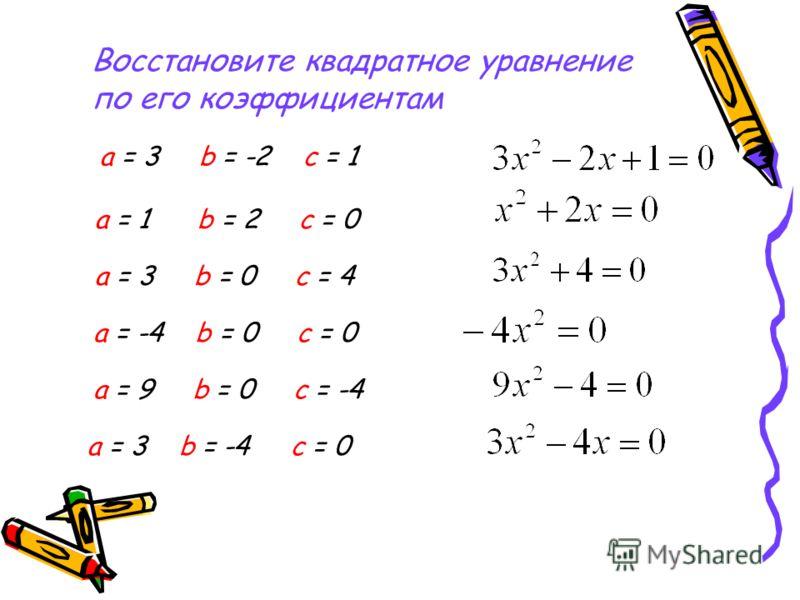 Восстановите квадратное уравнение по его коэффициентам а = 3 b = -2 с = 1 а = 1 b = 2 c = 0 а = 3 b = 0 с = 4 а = -4 b = 0 с = 0 а = 9 b = 0 c = -4 а = 3 b = -4 c = 0