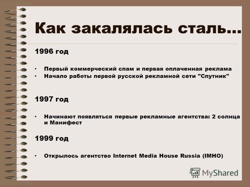 Как закалялась сталь… 1996 год Первый коммерческий спам и первая оплаченная реклама Начало работы первой русской рекламной сети