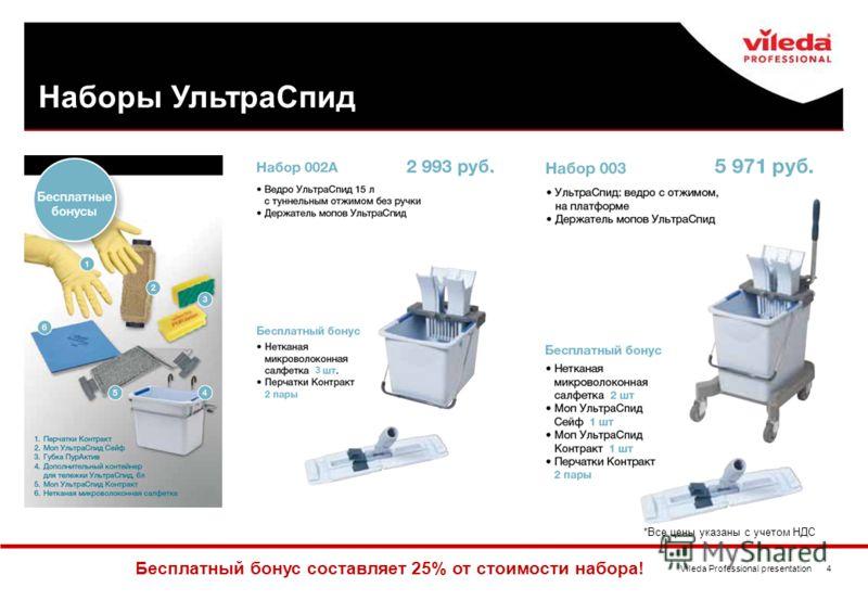 Vileda Professional presentation 4 Наборы УльтраСпид Бесплатный бонус составляет 25% от стоимости набора! *Все цены указаны с учетом НДС