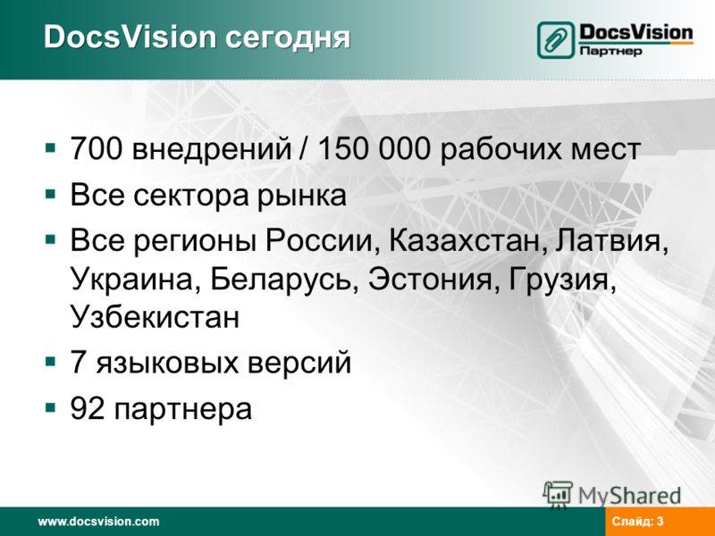 www.docsvision.comСлайд: 3 DocsVision сегодня 700 внедрений / 150 000 рабочих мест Все сектора рынка Все регионы России, Казахстан, Латвия, Украина, Беларусь, Эстония, Грузия, Узбекистан 7 языковых версий 92 партнера