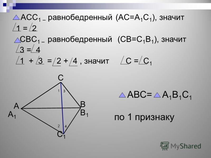 АСС 1 – равнобедренный (АС=А 1 С 1 ), значит 1 = 2 СВС 1 – равнобедренный (СВ=С 1 В 1 ), значит 3 = 4 1 + 3 = 2 + 4, значит С = С 1 В С А С1С1 В1В1 А1А1 АВС= А 1 В 1 С 1 по 1 признаку 1212 3434