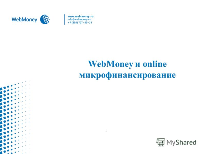 WebMoney и online микрофинансирование.