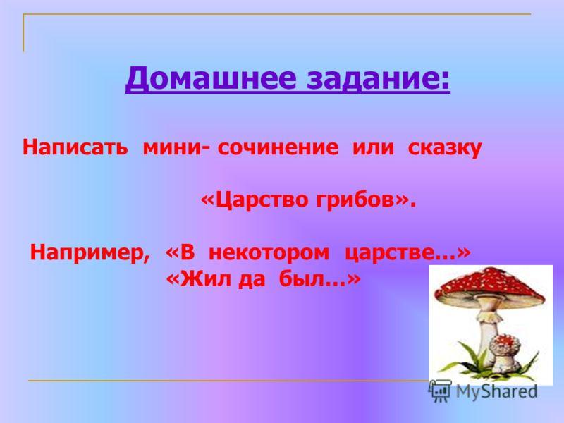 Домашнее задание: Написать мини- сочинение или сказку «Царство грибов». Например, «В некотором царстве…» «Жил да был…»