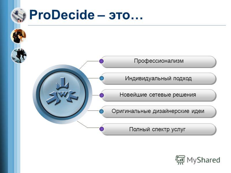 ProDecide – это… Профессионализм Полный спектр услуг Оригинальные дизайнерские идеи Новейшие сетевые решения Индивидуальный подход