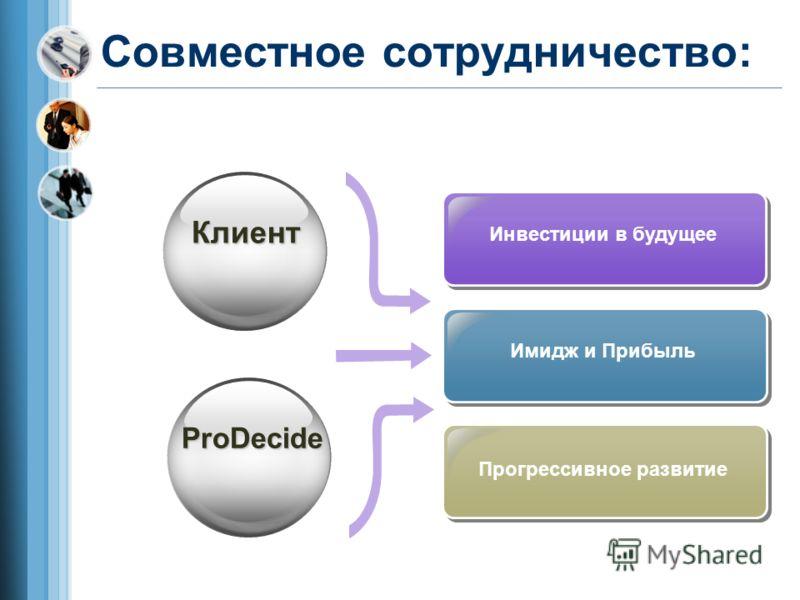 Совместное сотрудничество: Имидж и Прибыль Инвестиции в будущее Прогрессивное развитие Клиент ProDecide