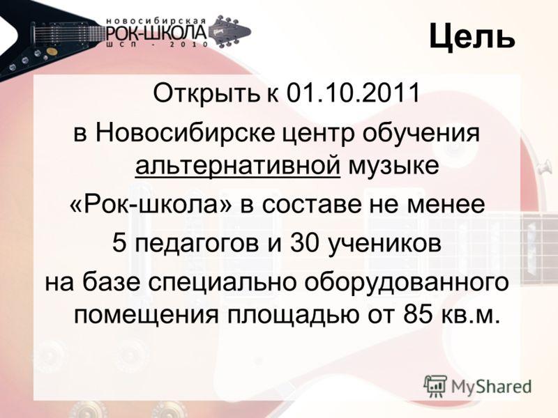 Цель Открыть к 01.10.2011 в Новосибирске центр обучения альтернативной музыке «Рок-школа» в составе не менее 5 педагогов и 30 учеников на базе специально оборудованного помещения площадью от 85 кв.м.