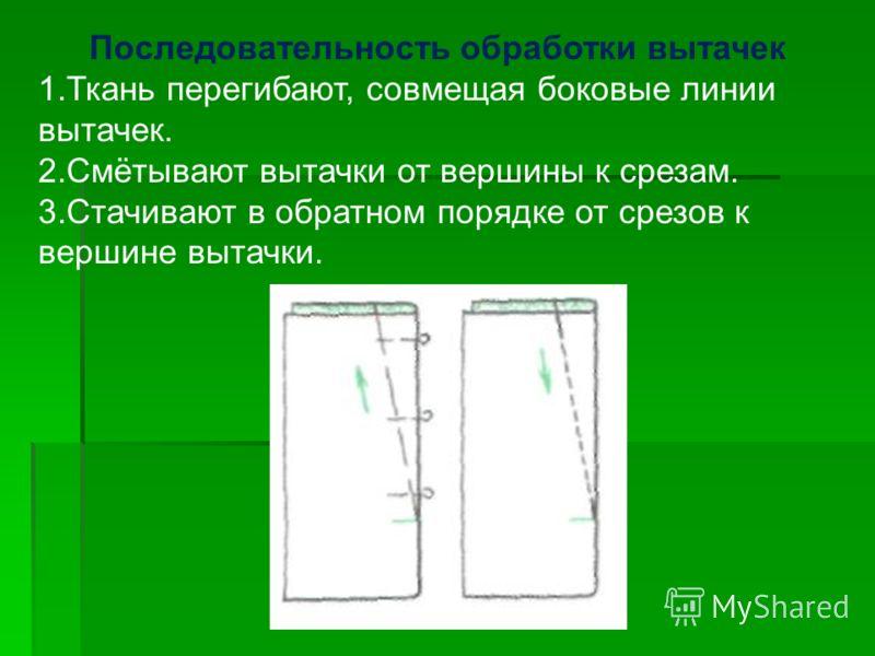 Последовательность обработки вытачек 1.Ткань перегибают, совмещая боковые линии вытачек. 2.Смётывают вытачки от вершины к срезам. 3.Стачивают в обратном порядке от срезов к вершине вытачки.